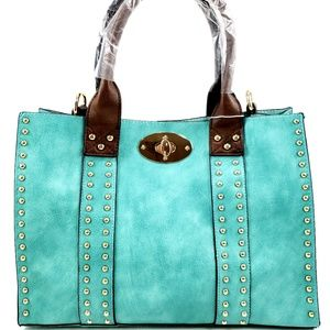 Bags - Women 2 in 1 Studded Handbag Satchel Shoulder Bag
